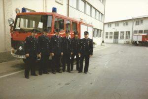 Abholung des neuen LF 8 bei der Firma Ziegler (1987) ©Feuerwehr Bischweier
